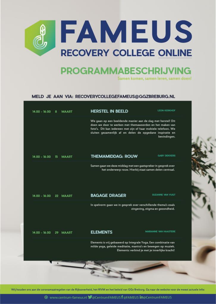 Recovery College online programmabeschrijving maart 2021